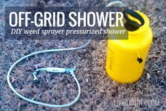 Simple pressurized shower using a (new) weed sprayer tank and low flow head. Perfect for off-grid applications!