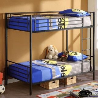 these sturdy black bunk beds are the perfect beds for young boys sharing a room made of a durable steel frame these beds feature a builtin ladder and a