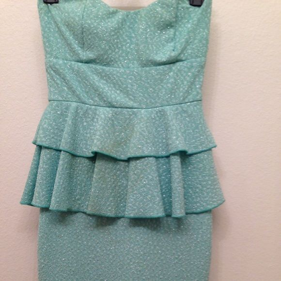 Turquoise Homecoming Short dress Sparkly, sweetheart shape top, tight fit, above the knee length/mid thigh, there's a faint stain in the front (Shown in picture) Other  Dresses