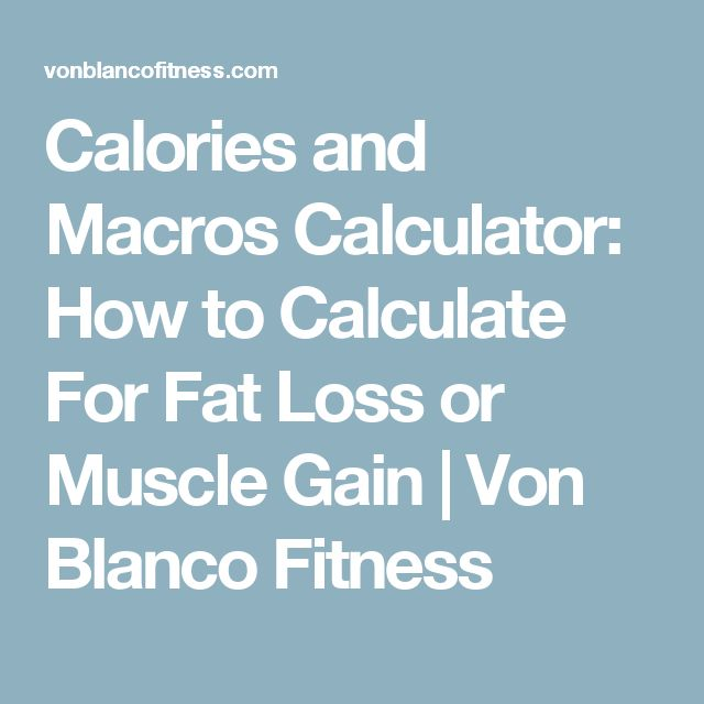Calories and Macros Calculator: How to Calculate For Fat Loss or Muscle Gain | Von Blanco Fitness