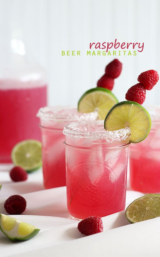 Raspberry Beer Margaritas (2 oz can limeade concentrate  12 oz club soda 12 oz tequila 8 oz can Bud Light Raz-Ber-Rita)