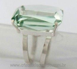 Anel Prata 950 Com Obsidiana Verde Multifacetado Aro Ajustavel ao Dedo REF 39.5