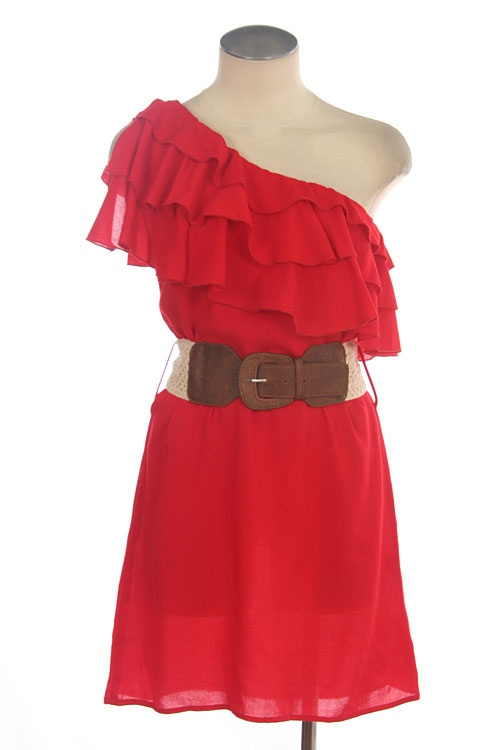 Love this. : Summer Dresses, One Shoulder Dresses, Style, Fashionista, Outfit, Belt, Red Bridesmaid Dresses, Accessories