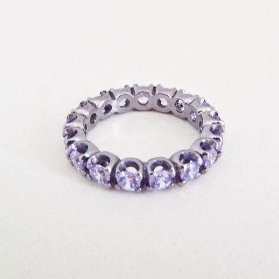 Silver Cataforesi and Lilac Swarovski Ring $265.00- Margaux Wenger Bijoux