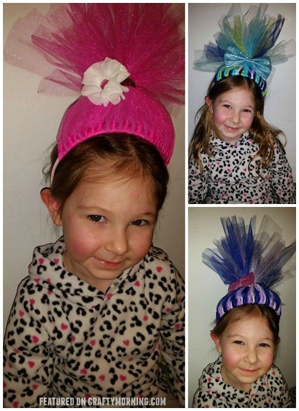 These darling troll headbands were made by Michele Leigh Barney! You could make them for party favors,playing dress-up, etc! They actually stand up too! Directions: Cut approximately 20 pieces of tulle (3 in or 6 in doesn't matter) Cut 12 inch pieces and fold them in half. Loop them around the hard headband and pull …
