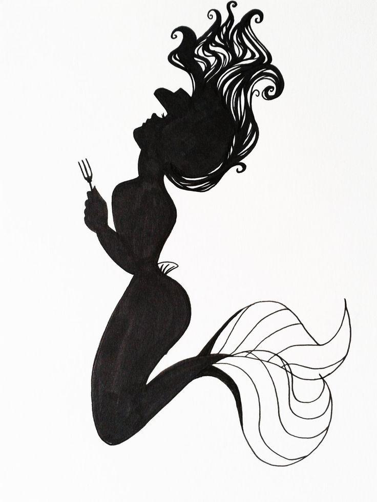 Disney Tattoo Ariel Silhouette Art By Hoshino Libra Tattoos