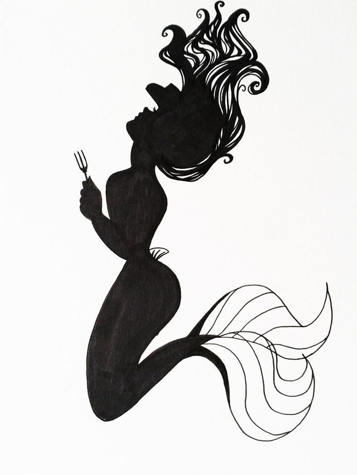 awesome Disney Tattoo - ... Ariel Silhouette Art by Hoshino-Libra...