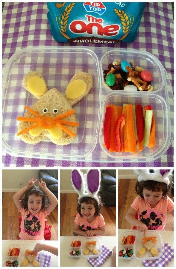Easter Bunny Sandwich - The bunny's head is an upside-down heart. Simple!