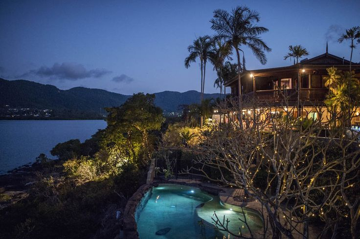Villa Botanica at night looking over the Coral Sea of the Whitsundays.