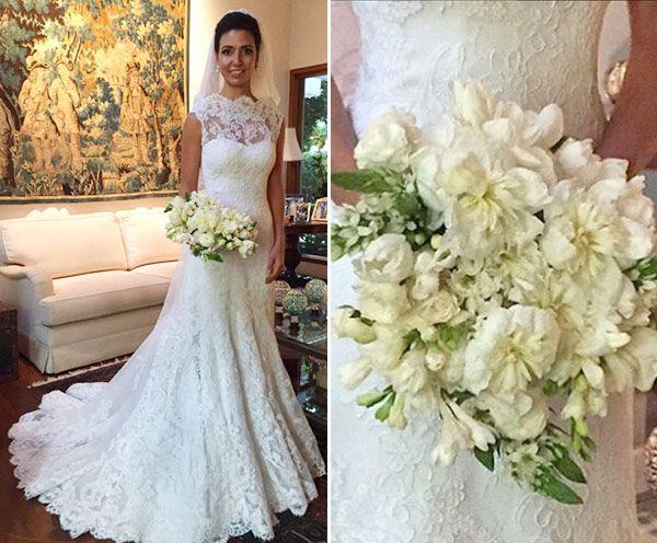 Vestido de noiva clássico de renda com gola alta ( Vestido: Wanda Borges )