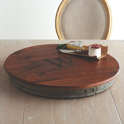 Personalized Raised Wine Barrel Lazy Susan with Single Initial - Wine Enthusiast