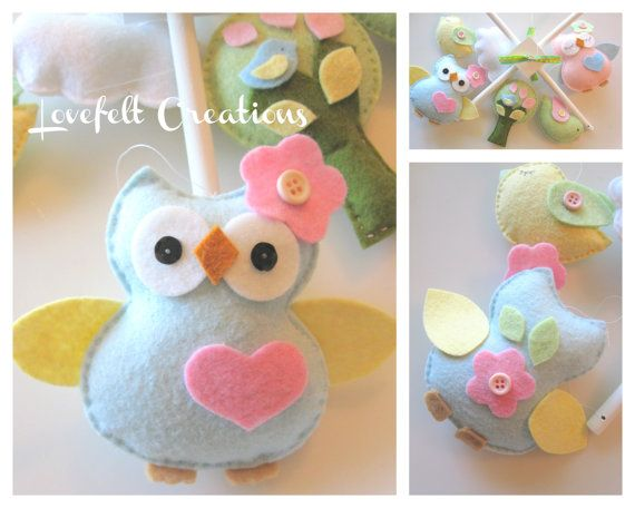 Baby Crib Mobile  Owl baby mobile  Owl and birds by LoveFeltXoXo, $125.00