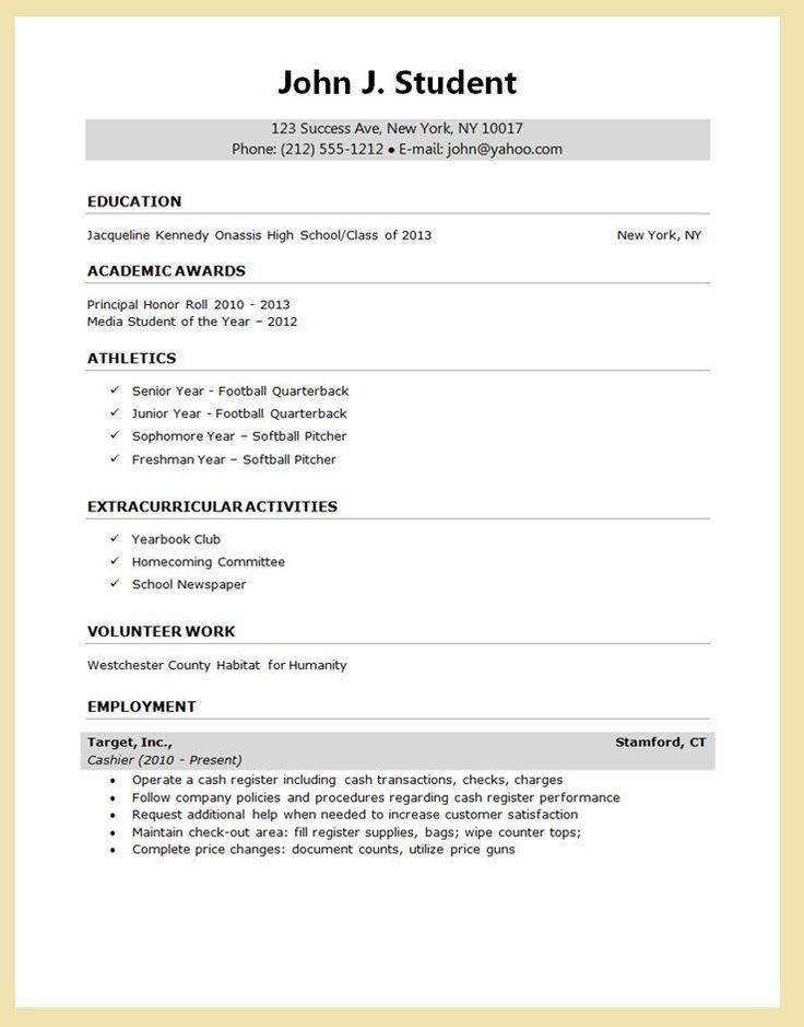 Student Resume Template Google Docs Welldesigned High
