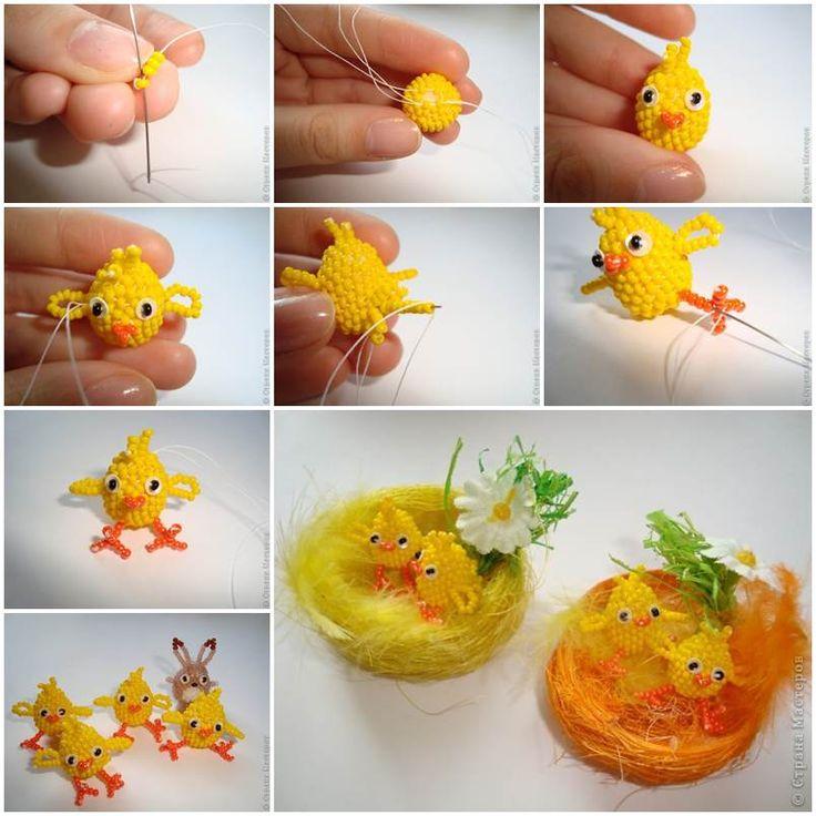 DIY Lovely Beaded Easter Chicks 1