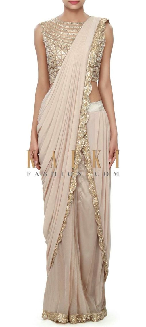 Fawn saree with golden lace