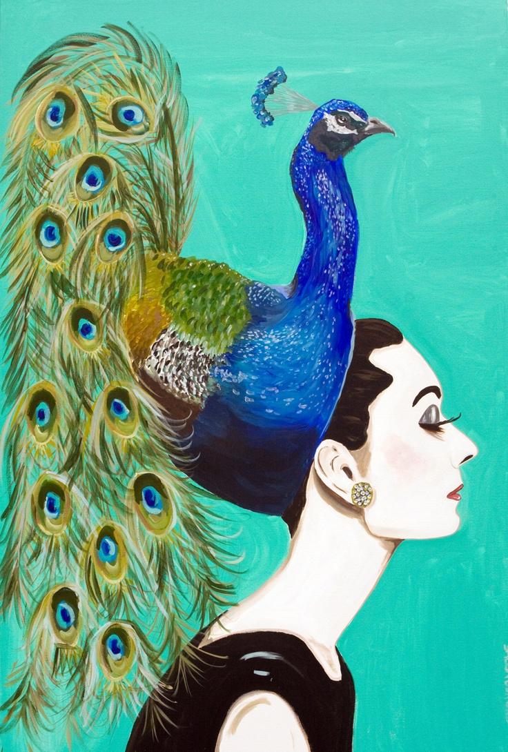 """Peacock Audrey"" by Sarah Ashley Longshore"