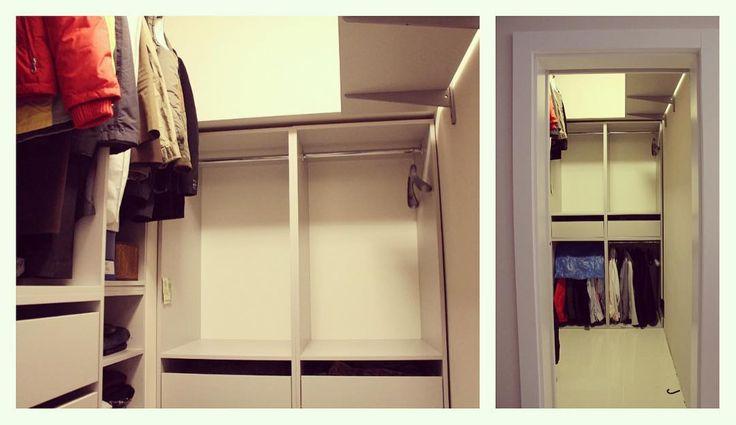 Czasami potrzebujemy zagospodarować schowek który przeznaczony będzie pod przyszłą garderobę. Wykonaliśmy zabudowę do osobnego pomieszczenia z płyty meblowej popiel. Prezentowana garderoba pełni funkcję magazynowania rzeczy sezonowych stąd taka duża ilość drążków które uzupełniają 4 szuflady na prowadnicach bluma. #garderoba #nawymiar #zabudowa #szafa #wardrobe #shelves #drążki #blum #design #instasize #warszawa #photooftheday #przechowywanie #decor #warsaw #polska #likeit