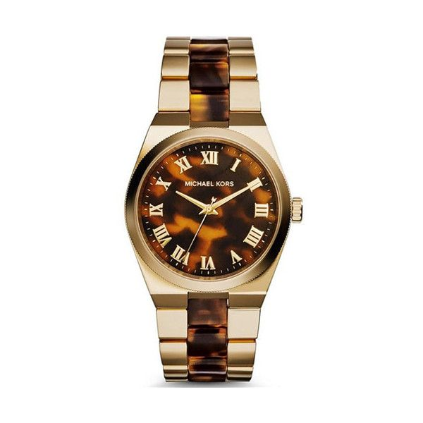 Michael Kors  Women's Channing Watch (965 ILS) ❤ liked on Polyvore featuring jewelry, watches, women's accessories, michael kors watches, tortoise jewelry, stainless steel jewelry, stainless steel wrist watch and water resistant watches