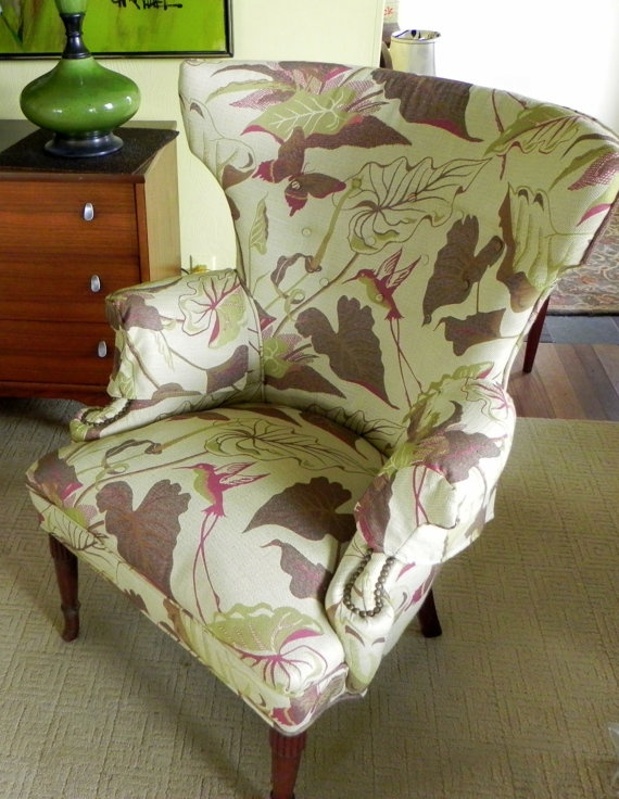 SUPER SALE: Vintage Wingback Chair Hummingbird, Butterfly And Large Leaf  Pattern