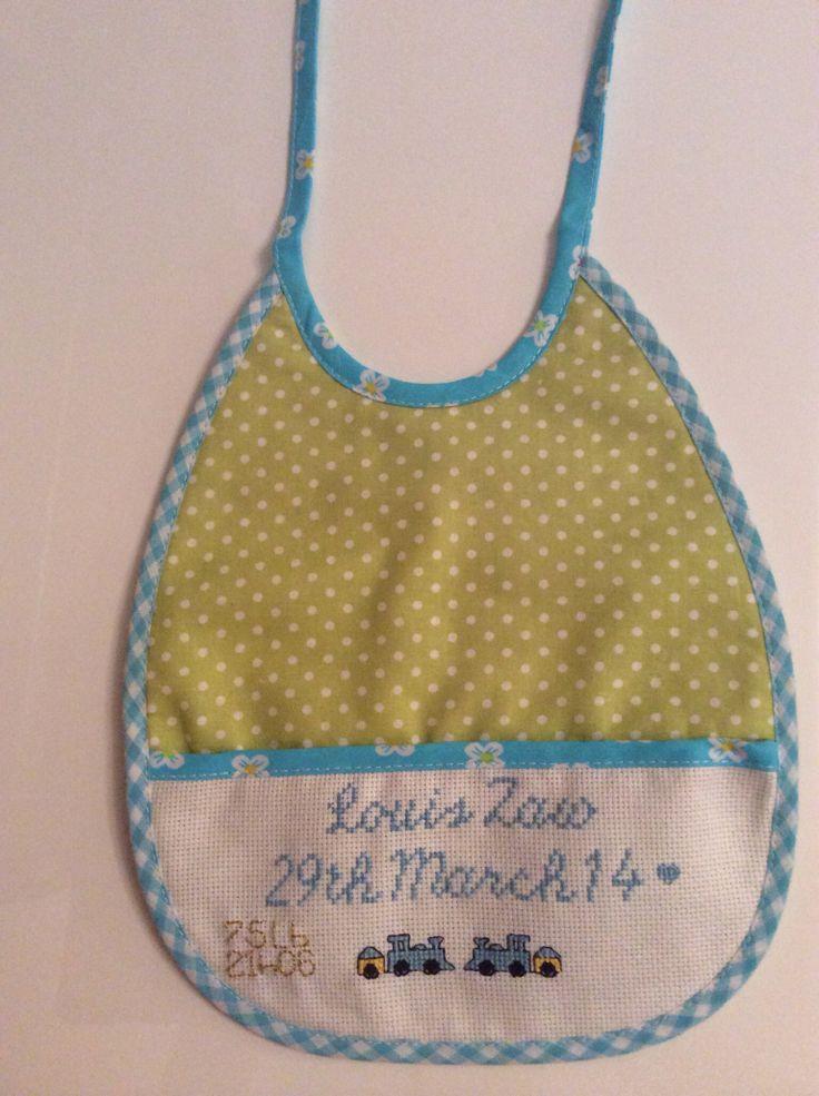 Baby bib for a special little boy #crossstitch #handmade