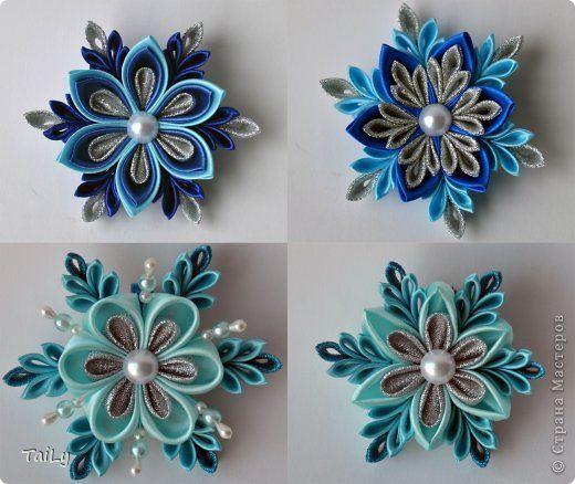 Украшение Цумами Канзаши Круглые цветочки и скоро-скоро Новый Год Ленты фото 3