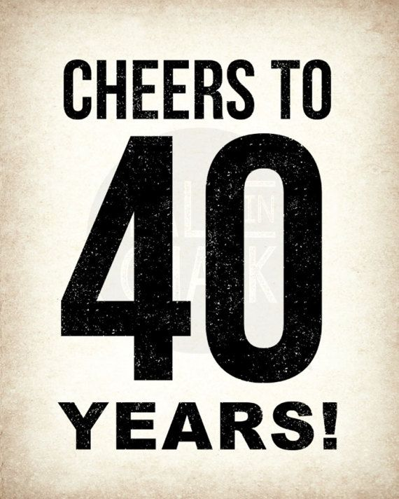 40th Birthday PRINTABLE Sign Pack DIGITAL Posters Cheers To 40 Years Decorations Instant Download