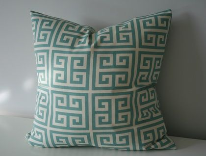 Greek Key, Designer duck egg blue and natural.