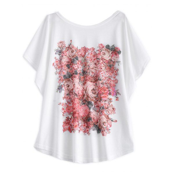 Batwing Sleeve Floral Print White T-Shirt, WHITE, 2XL in Tees & T-Shirts | DressLily.com