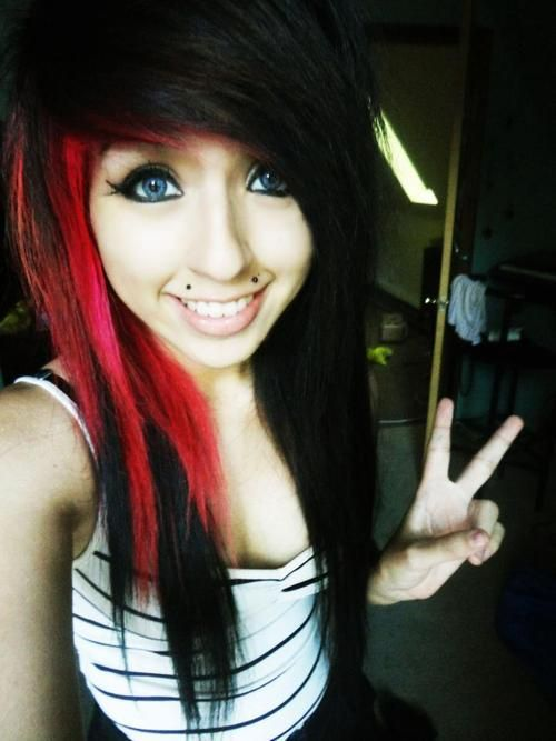 Quite Black emo girl with red hair phrase and