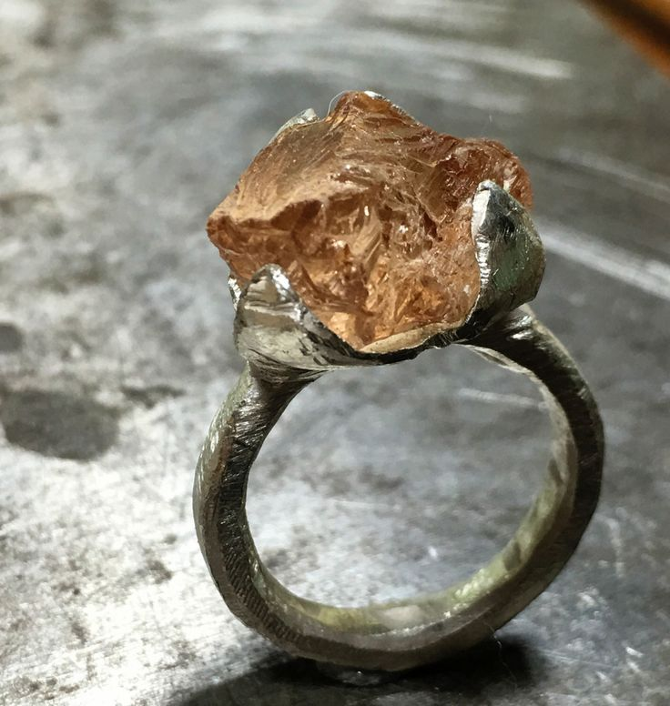 Imperial topaz ring, raw crystal, sterling silver