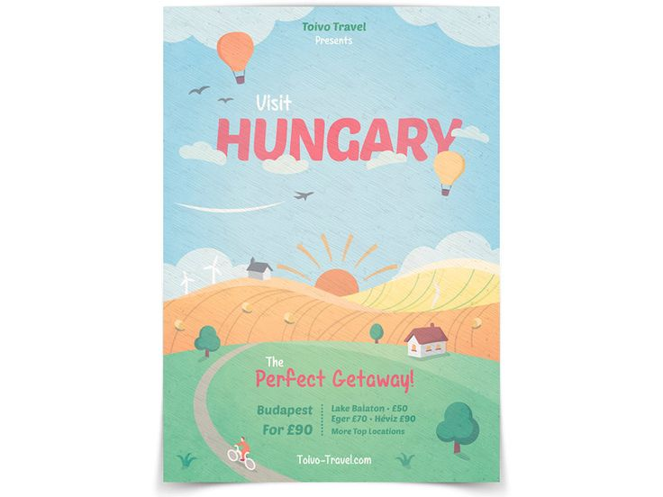 Visit Hungary - Retro Poster by Martin Emes