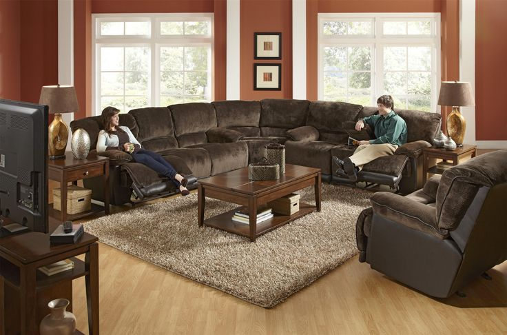 A Reclining Sectional In The Transitional Style Catnapper Escalade Transitional Power Reclining