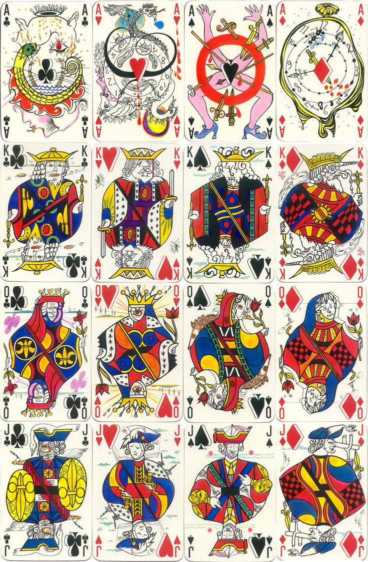 playing cards designed by the famous Spanish artist Salvador Dalí (1904-1989), featuring many of Dalí's characteristic surrealist motifs such as melting clocks and supportive crutches. The court cards are based on the French 'Paris' pattern. The cards were printed by Draeger Frères, Paris, 1967. Images courtesy Barney Townshend.