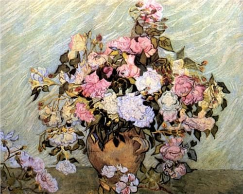 Still Life Vase with Roses by Vincent Van Gogh. Painted in May 1890 while in the Saint-Rémy Asylum. Current location: National Gallery of Art, Washington DC, USA.