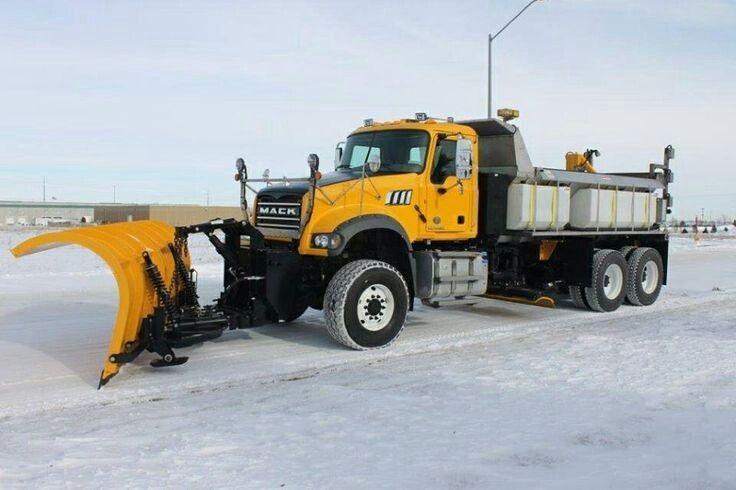 Mack snow plow truck