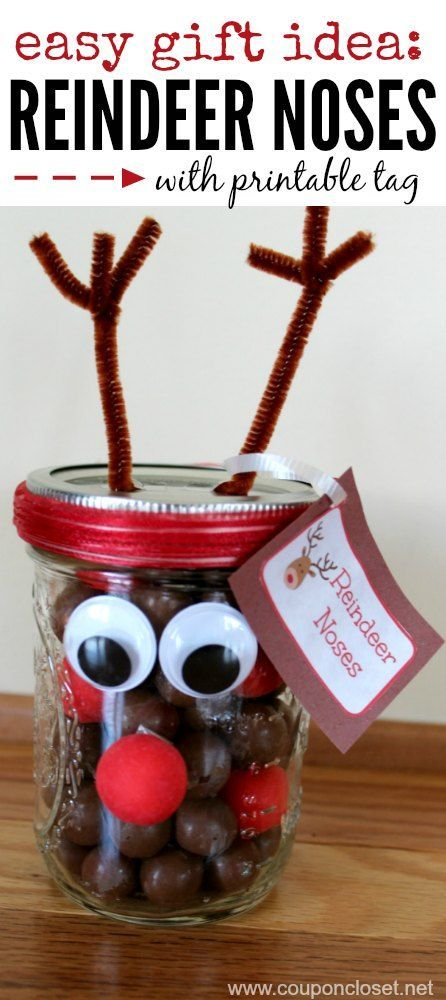 Reindeer Noses with Printable Tags. What an easy and adorable Christmas Gift! Great for teachers, friends and neighbors.