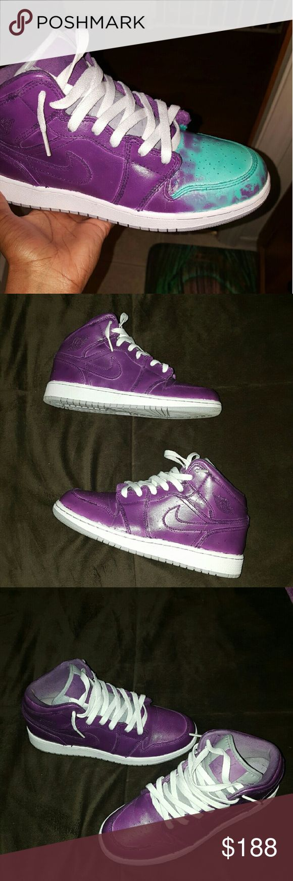 Custom Thermal Jordan Retro 1 When hot color changes to torquoise, when cold they turn purple Jordan Shoes Sneakers