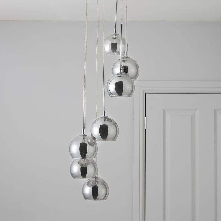Pegase Silver Smoked Chrome Effect 7 Lamp Pendant Ceiling