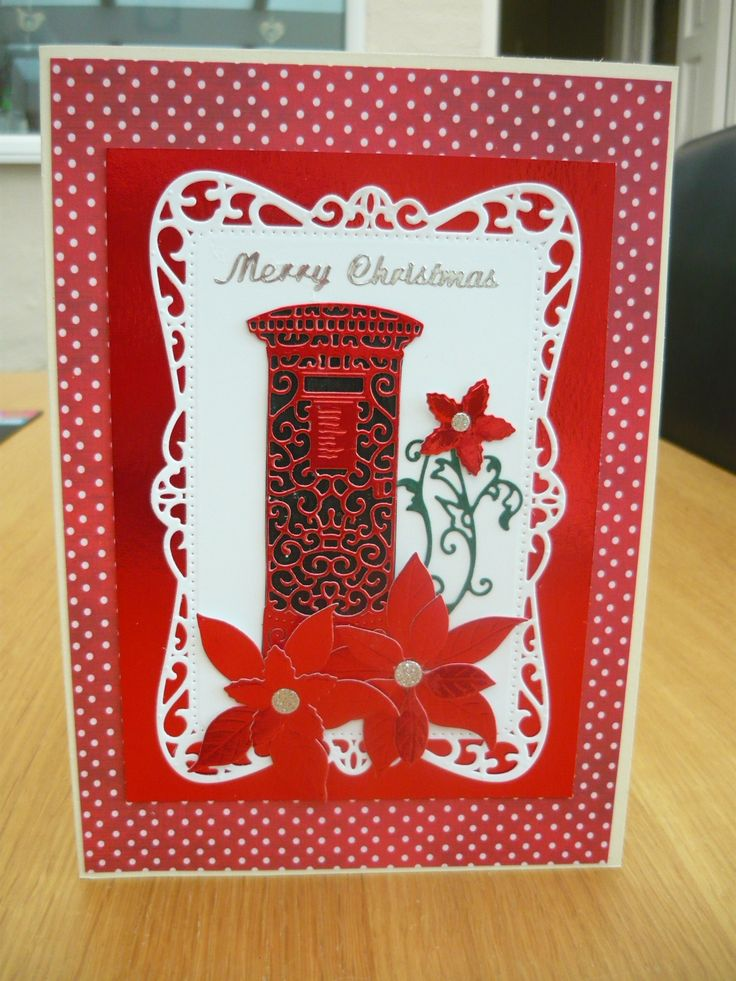 Christmas card using Post box Tattered lace  die and poinsettia flowers.
