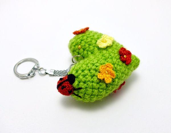 tavasz szíve kulcstartó katicával / heart of spring keychain with ladybug