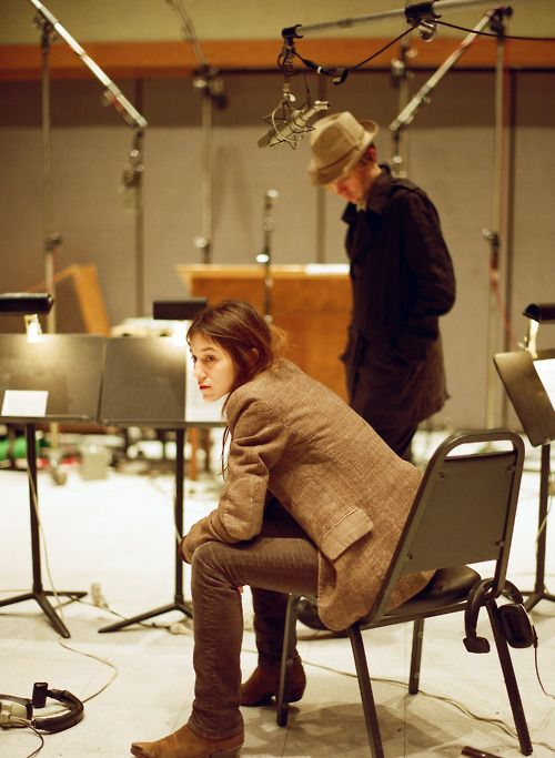 Charlotte Gainsbourg & Beck in the studio . Suede ankle boot from R SOLES www.rsoles.com