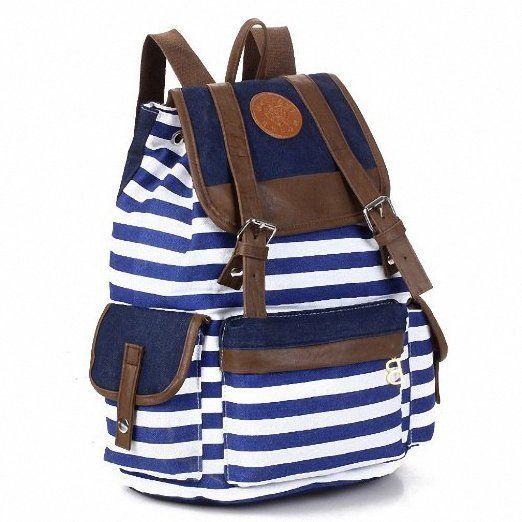 K9Q donna ragazza Prenota borsa da viaggio in tela A righe zaino per la scuola zaino borsa A tracolla fagotti Commercializzato con aidata N, & un regalo esclusivo