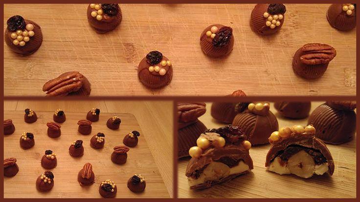Bonbons gevuld met hazelnoten, kaneelmonchou en vijg