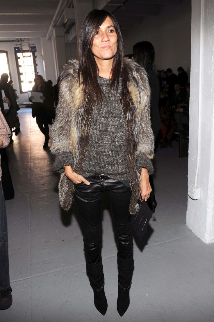 Emmanuelle Alt in perfect Rock Chick Faux Fur Masculine Style