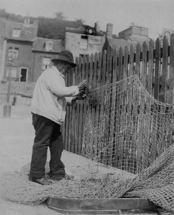 Mending nets at Folkestone, Kent