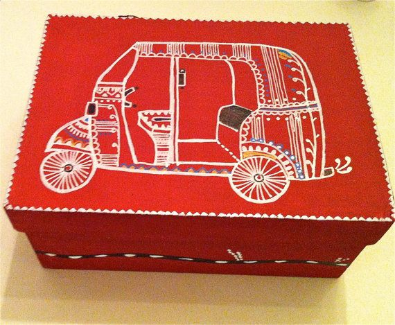 Hand painted Box set with automobile designs by sukhu on Etsy, $50.00