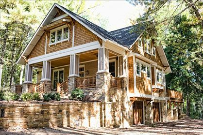 The marriage of wood shingle & natural stone on this bungalow leaves me breathless!!!  Maybe the roof can be tin!!!!  Craftsman Cottage Plans, Craftsman Bungalow Home Plans, Cottage Plans