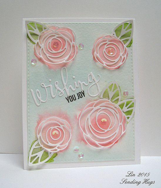die cut scribble roses ... MFT Sketch challenge #253 from Sending Hugs by Lin ... luv the soft colors under the delicate white die cut lines ...