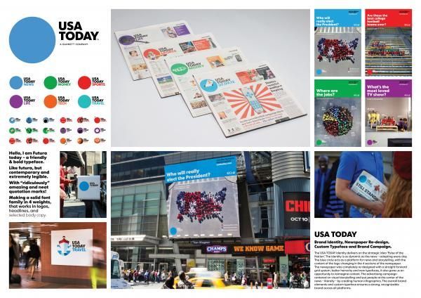 """Usa Today Newspaper: """"USA TODAY VISUAL IDENTITY"""" Design & Branding  by Wolff Olins"""