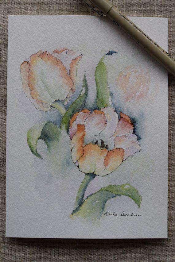 Pfirsich Tulpen Aquarell Gemalt Karte Original Oder Drucken